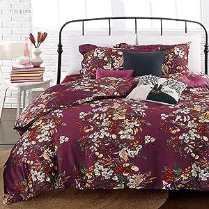 Eikei Shabby Chic 法国乡村花园花卉羽绒被被套,彩色花朵水果印花双面棉质床上用品套装 乡村风格花朵 Plumberry Queen