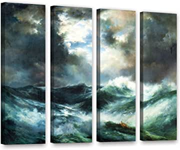"ArtWall 1tmo001d2432w 4 Piece Thomas tMoran's ""Moonlit Shipwreck At Sea 1901"" Gallery Wrapped Canvas Set, 24"" x 32"""