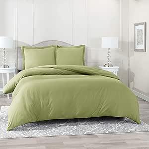 Nestl 床上用品羽绒被套 4 件套 - 超柔软双磨毛超细纤维酒店系列 - 带纽扣封口的盖被,深口袋床笠,2 个枕套 鼠尾草橄榄绿 两个 XL nb-dvcrftt-txl-sge-fba