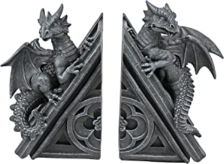 Design Toscano 城堡龙哥特式装饰性书末雕像,20.32 厘米,两件套,合成树脂,灰色石头