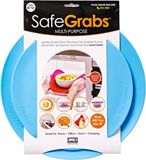 Safe Grabs SG-BLU-2PK Seen on Shark Tank: Multi-Purpose Silicone Microwave Mat, Bpa Free Kitchen Tool, Set of 2 (Blue), 2-Pack
