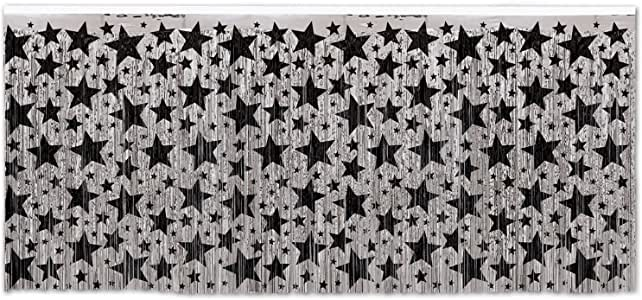 1-Ply FR Metallic Table Skirting (silver w/prtd black stars) Party Accessory (1 count) (1/Pkg)