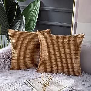 Ashler 2 件套纯色装饰枕套条纹灯芯绒绒毛靠垫套