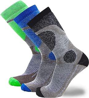 Elite 羊毛滑雪袜 男孩女孩 - 儿童美利奴羊毛青年滑雪 青少年 冬季保暖袜 3 Pairs - Black-neon Green-blue 小号/中号