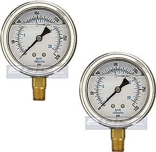 GAUGE 不锈钢下部装液体填充压力,6.35 厘米面/表盘,额定WOG,0.64 厘米公 NPT,范围 0-300 PSI L201-254H