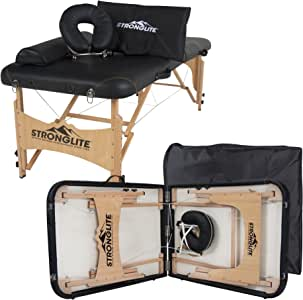 STRONGLITE Portable Massage Table Olympia - Package w/Adjustable Face Cradle, Face Pillow, Half Round Bolster, Microfiber Sheet Set & Carry Case
