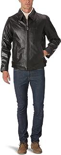 SCHOTT NYC 男式项圈皮革长袖外套