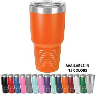 Clear Water Home Goods - 30 盎司 玻璃杯 18/8 不锈钢双层真空保温水瓶和旅行咖啡杯带透明盖,粉末涂层 橙色 30 oz
