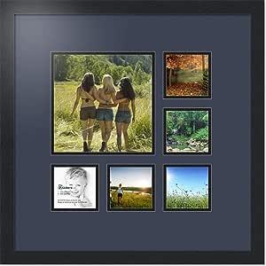 ArtToFrames 拼贴照片框双垫,带 6 个开口和黑色缎框。 Blue Jay 9x9 Double-Multimat-358-586/89-FRBW26079