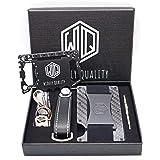 超高品质 碳纤维钱包现金带 - RFID 屏蔽 - 全套礼品套装,包括钥匙收纳盒 - 极简的卡片夹和智能钥匙扣 - 纤薄小巧轻便