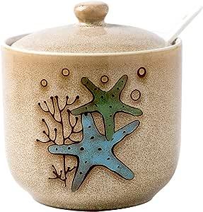 Verdental Novelty Sea Fun 566.98 毫升大容量陶瓷盐和香料存储调味罐带盖和勺子 Starfish Brown