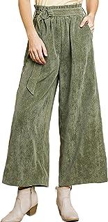 umgee USA 女式灯芯绒高腰阔腿纸袋腰裤带腰带系带