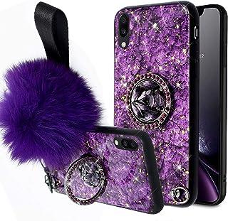 Galaxy A10 手机壳,女孩女士大理石设计镶嵌闪光水钻钻石闪亮防震混合硬背 TPU 缓冲壳和毛绒球环支架适用于 Galaxy A10 钻石手机壳, Galaxy A10