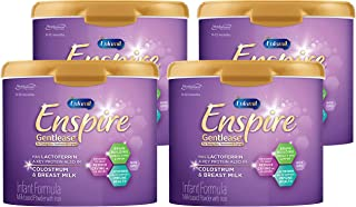 Enfamil Enspire 美赞臣蓝臻 Gentlease 婴儿配方奶粉 适合0-12个月婴儿 20盎司/约566.99克 4件装 MFGM,乳铁蛋白(在初乳中发现),Omega 3 DHA,铁,益生菌