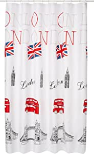 Bisk 伦敦浴帘带环,180 x 200厘米,多色