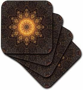 houk 数码抽象艺术–Fancy kaleidoscopes–巧克力色星星 mandala–杯垫