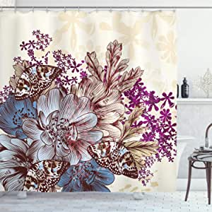 Floral Shower Curtain by Ambesonne, Hand Drawn Pastel Color Flowers with Butterflies Vintage Detailed Image, Fabric Bathroom Decor Set with Hooks, 84 Inches Extra Long, Blue Purple White Brown