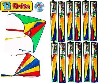 JA-RU 三角风筝尼龙大号散装风筝(2 个装)易于组装的滑翔机,易于飞行和发射。 家庭户外儿童游戏。 派对礼品。 9877-2p 12 包 Delta Kite Nylon