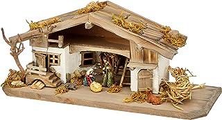 Unbekannt NK04 耶稣的诞生稳定木质耶稣降生场景,5 件套雕像,实木,彩色,30 x 11 x 13 厘米