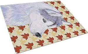 Caroline's Treasures Siberian Husky Fall Leaves Portrait Glass Cutting Board, Large, Multicolor