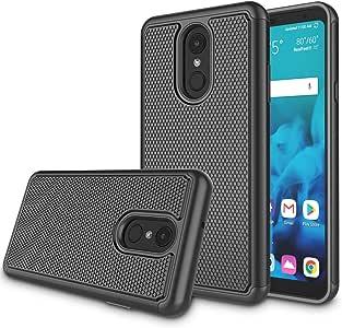 Zectoo 适用于 LG Stylo 4 手机壳 2018,LG Stylus 4 手机壳,LG Q Stylo 4 Plus 手机壳,混合防震防摔冲击坚固耐用双层保护壳手机外壳 黑色