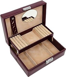 珠宝首饰盒 | 真皮首饰收纳盒 | 勃艮*配饰女士储物钥匙锁盒 - 耐时性 - My Antonia(酒红色)