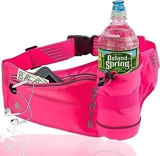 Athlé Running Fanny Pack 带水瓶支架 - 可调节跑步皮带存放袋,配有拉链口袋,适合运动和旅行使用 - 360° 反光带 - 适合 iPhone Plus、Galaxy Note