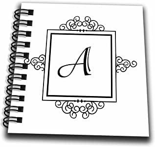 3dRose db_154324_3 Initial Letter A Personal Monogrammed Fancy Black & White Typography Elegant Stylish Personalized Mini Notepad, 4 by 4""