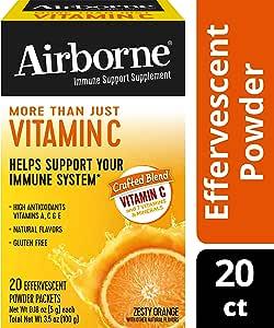 Airborne 维生素 C 混合补充剂,热情橙子口味泡腾粉包(每盒20包),便携,无麸质,含天然香料和抗氧化剂(维生素 A、C 和 E)
