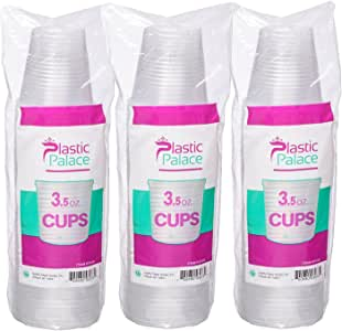 小号一次性塑料杯,透明,3.5 盎司 零食和饮料尺寸 | 派对、活动、婚礼、儿童 | 可回收饮具 | 茶、苏达、水、果汁、牛奶 透明 10 Pack 500 Cups 43237-2