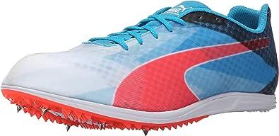 PUMA 男士 Evospeed Distance V6 运动鞋 白色/原子蓝色/红色爆炸 13 M US