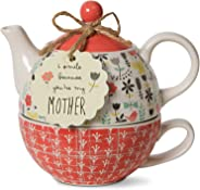 Pavilion Gift Company 74068 Bloom Mother 陶瓷茶具,425.24g,多色