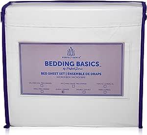 床单 4 件套 PerfectSense Basics 奢华柔软透气低*床上用品套装 45.72 厘米深口袋防皱,可由 PerfectSense 机洗 奶油色 加州King size BB193-CRE-CK
