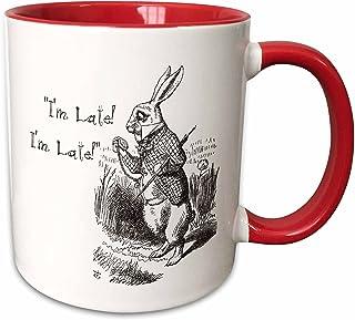 3dRose 马克杯_193791_5 爱丽丝梦游仙境白色兔子 I'M Late - John Tenniel 插图马克杯,白色/红色,311.84 克