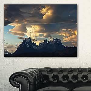 designart pt11665TORRES DEL paine 国家公园景观艺术品帆布,蓝色