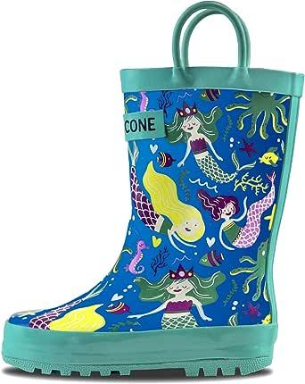 LONECONE 雨靴,带易穿上提环,有趣图案,适合幼儿和儿童 boot-iful 美人鱼 4 M US 儿童