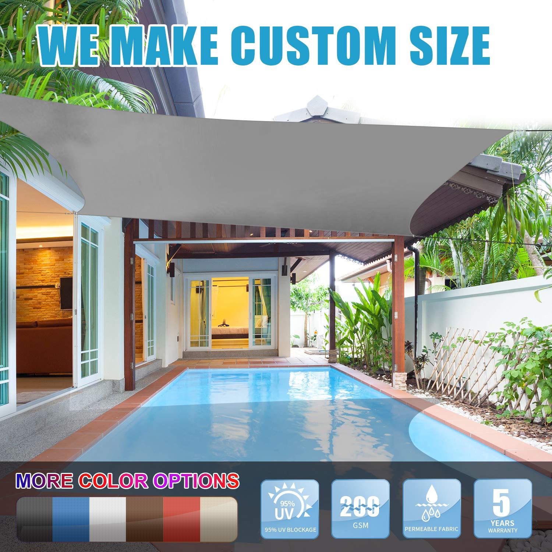 Amgo 定制尺寸矩形遮阳帆遮阳蓬遮阳篷,95% 紫外线阻挡,防水透气,商业和住宅,5 年保修(可定制尺寸) 12' x 12'