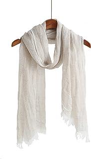 亚麻围巾女式轻质围巾男式夏季围巾纯色围巾和披肩 肤色 Medium