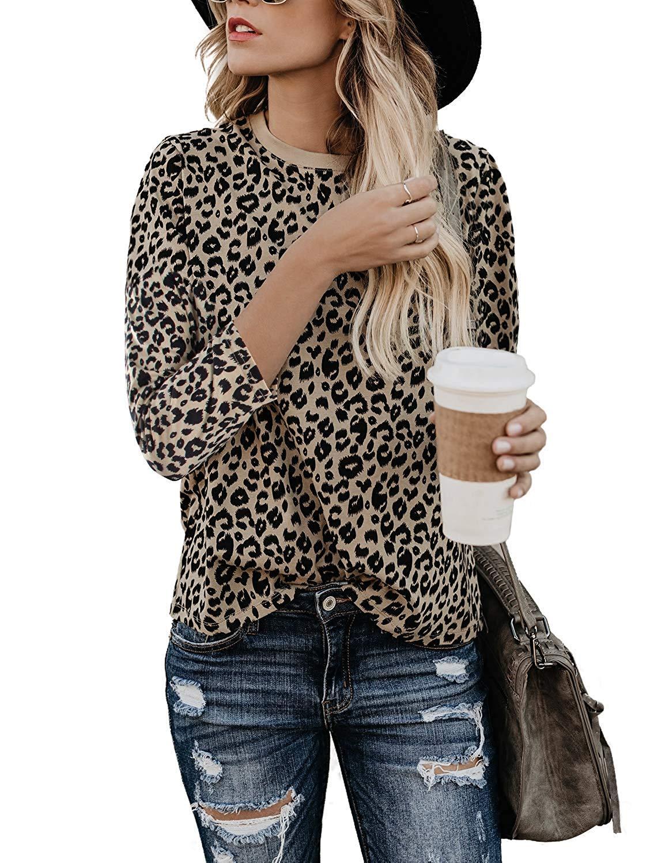 Yidartonの女性のヒョウ柄シャツ半袖Tシャツのカジュアルなコットンラウンドネック可愛いシャツ