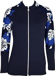 Private Island Hawaii 女式防紫外线潜水服长袖*上衣拉链夹克口袋锻炼户外/瑜伽/JRSRGT