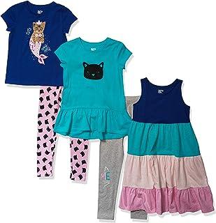 斑点斑马女童标准5件套针织连衣裙,束腰上衣和打底裤套装