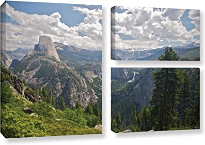 ArtWall Dan Wilson's Yosemite-半圆顶佛罗纳尔瀑布和内华达瀑布 3 件套画廊装裱油画艺术品 24X36 0wil032g2436w