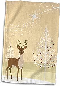3D Rose 漂亮现代冬季风景 驯鹿和雪人装饰树节日季节性设计手/运动毛巾,38.10 x 55.88 厘米