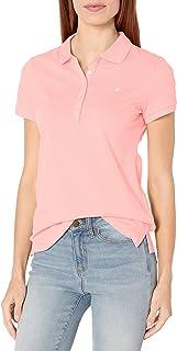 Nautica 女士 5 粒扣短袖透气纯棉 Polo 衫 Aloha Pink X-Large
