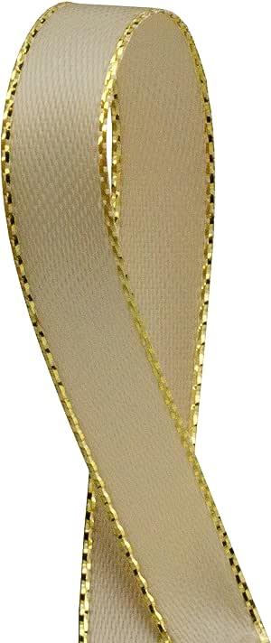 双面缎带带带金色边缘,0.95cm x 50码 棕色(Toffee) GOLDEDGERIBBON
