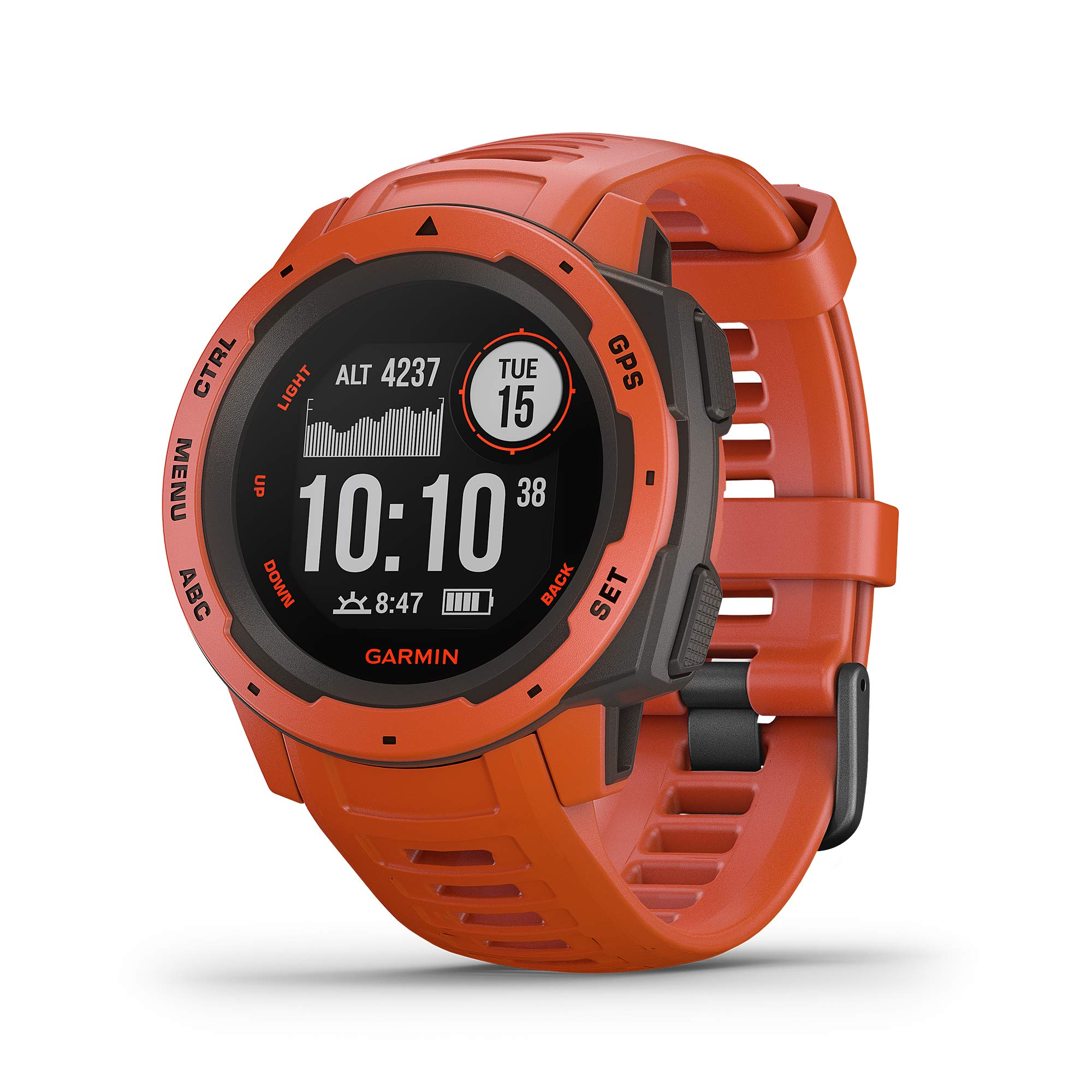 Garmin Instinct,坚固的户外手表带 GPS,具有 GLONASS 和伽利略,心率监控和 3 轴指南针010-02064-02 1.27 inches 火焰红
