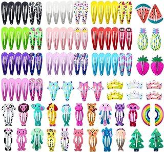 女孩发夹,Funtopia 100 件防滑金属按扣发夹儿童青少年女士可爱糖果色卡通设计发针(动物水果皇冠星)