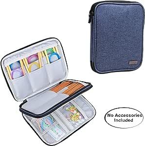 "Luxja 针织针套(*多 8 英寸),圆针旅行收纳袋,20.32 厘米针织针和其他配件(不含配件) 深蓝色 8.5""L x 6.5""W CALX00802"