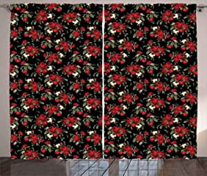 Red and Black Curtains by Ambesonne, Shabby Chic Garden Farm Flowers Leaves Roses and Violets Design, Living Room Bedroom Window Drapes 2 Panel Set, 108 W X 84 L Inches, Red Black Olive Green