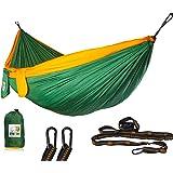 Ryno Tuff 野营吊床 – 带肩带双吊床,加固不易撕裂但仍轻,额外口袋,*树带和重型登山扣。